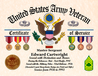 US Army Veteran Certificate with Awards