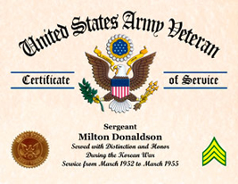 US Army Certificate of Service