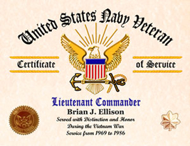 US Navy Certificate of Service