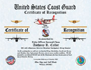 US Coast Guard Certificate of Recognition