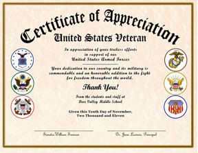 United States Veterans Certificate of Appreciation