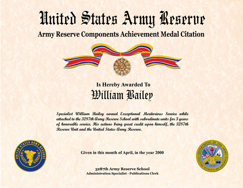 Individual Award Certificate Military Training Unit Awards