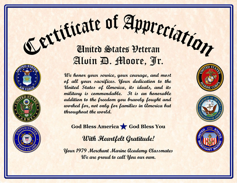 Bewitching image with regard to free printable veterans certificate of appreciation