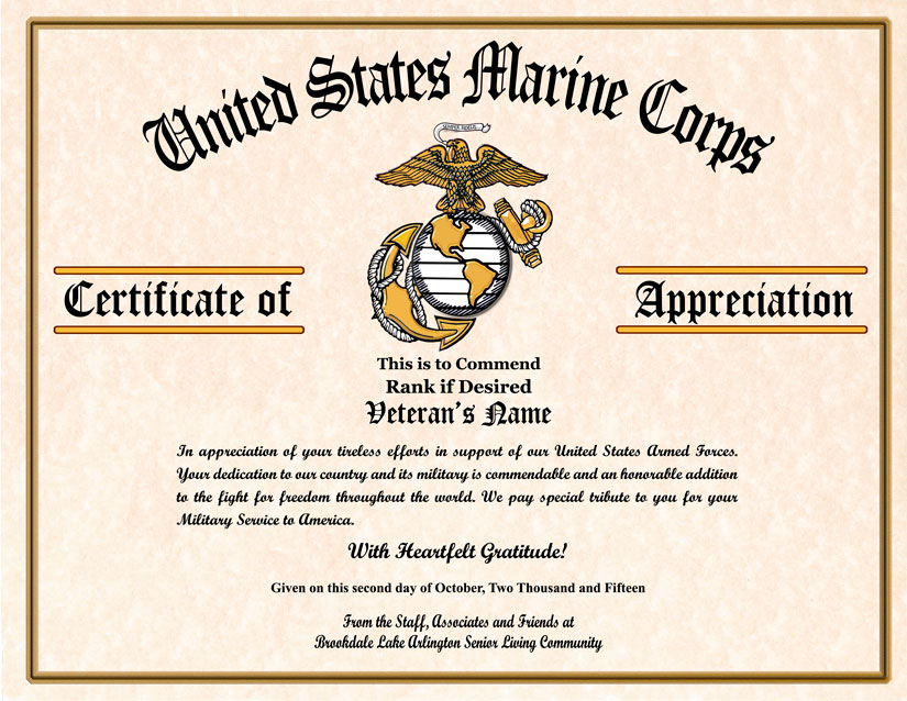 This is a picture of Current Free Printable Veterans Certificate of Appreciation