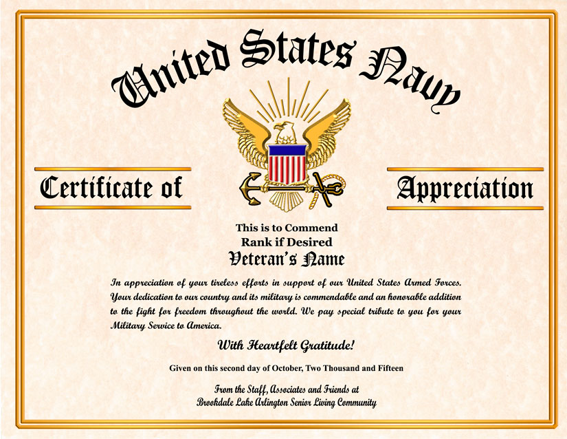 military certificates of appreciation templates
