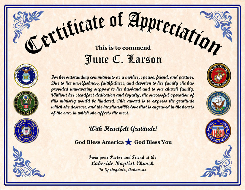 Clever image within free printable veterans certificate of appreciation
