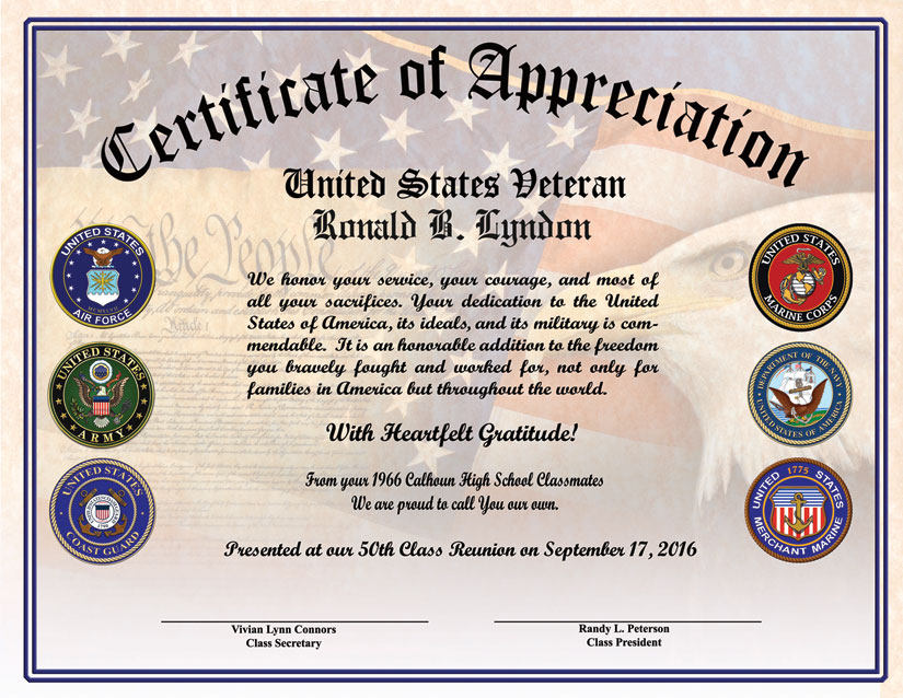 high school reunion veterans appreciation certificate